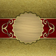 Gold background with a red stripe and patterned circle — Stock Photo #38364775