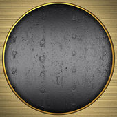Background gold circle with the texture of the metal — Stock Photo
