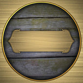 Gold circle with the texture of the wood and gold plate — Stok fotoğraf