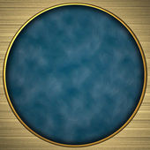 Background gold circle with the blue rich texture — Stock Photo