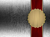 Silver background with red ribbon and gold circle — Stok fotoğraf
