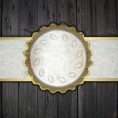 Wooden background with a white stripe and a golden circle — Stock fotografie