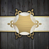 Wooden background with a white stripe and a golden circle — Stock Photo