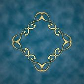 Gold pattern on a blue background. Design element — Stock Photo