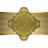 Gold plate with gold pattern. Design element — Stock Photo