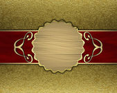 Gold background with a red stripe and patterned circle — Stock Photo