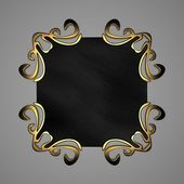 Black plaque with gold ornaments — ストック写真