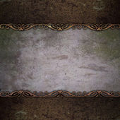 Stone background with rust metal plate — Stock Photo