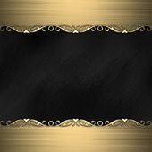 Black background with beautiful gold ornaments at the edges — Stock Photo