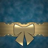 Geschenk multifunktionsleiste onblue hintergrund (gold) — Stockfoto