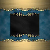 Gold frame isolated on blue background — 图库照片