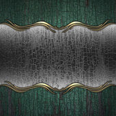 A wooden background with a metal plate — Stock Photo