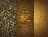 Three textures of gold — 图库照片