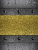 Fond métallique avec une plaque en or pour l'écriture de texte — Photo