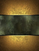 Gold background with a dark background nameplate for writing. — Stock Photo