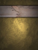 Gold background with wooden nameplate for writing — Stock Photo