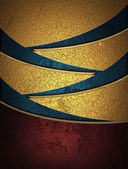 Design template. Golden abstract background with blue slits. — Stock Photo