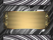 Metal Background with gold sign with gold trim — 图库照片
