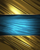 Gold Background with beautiful blue nameplate. (gold background) — Stock Photo