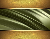 Gold background with a green abstract nameplate. — Stock Photo