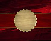 Beautiful red background with gold nameplate for writing. — Foto Stock