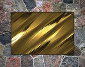 Hermoso fondo de piedra con una placa de oro para la escritura. — Foto de Stock