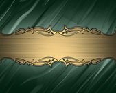 Turquoise background with a gold nameplate for writing. — Stock Photo
