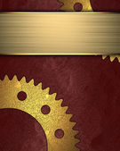 Red Background with golden gear and gold ribbon for writing. — Stock Photo