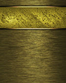 書き込み用の古い金の銘板とゴールドの背景. — ストック写真
