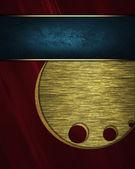 Fondo rojo con el patrón oro y placa azul para la escritura. — Foto de Stock