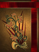 Beautiful gold Background with red ribbons and floral pattern. — Foto de Stock