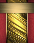 Gold Background with red edges and nameplate for writing. — Stock Photo