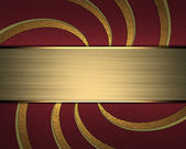 Red Background with abstract gold pattern and gold nameplate. — Stock Photo