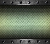 Green Background with metal plates at the edges with rivets. — Stock Photo