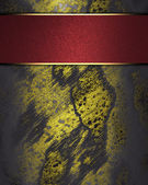 Shabby gold background with red nameplate for writing. — Stock Photo