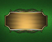 Green Background with gold nameplate and a pattern on the edge. — Stock Photo