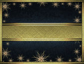 Black background with a gold ribbon on the edges decorated with stars and gold nameplate for writing. — Stock Photo