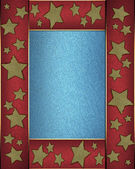 Blue background with a red ribbon on the edges decorated with stars. — Stock Photo