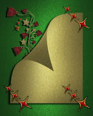The template for the inscription. Beautiful gold leaf on a green background with Christmas bells on the edges. — Stock Photo