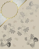 Cream background with pattern of flowers and name plate. — Stock Photo