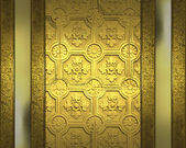 Gold background patterned, with gold plates at the edges — Stock Photo
