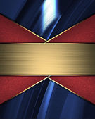 Blue Background with red ribbons and gold nameplate — Stock Photo