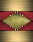 Zlaté pozadí abstraktní s stuhy červené a zlaté okraje — Stock fotografie
