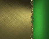 Gold background with a green plate with a pattern on the edges — Stock Photo