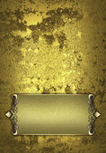 Old wall of gold, and beautiful gold nameplate — Stock Photo