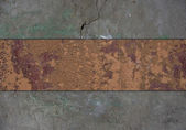 Grunge wall, with grange rusty nameplate. — Stock Photo