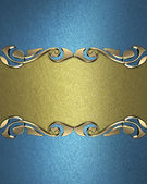 Blue background with a gold name plate with patterns — Stock Photo