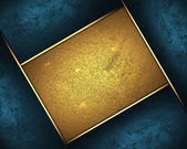 Abstract blue plate, with a gold nameplate in middle — Stock Photo