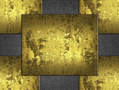 Abstract old gold background, consists of four gold plates — Stock Photo