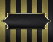 Background with stripes, with black name plate and a gold trim — Stock Photo
